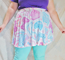 Pastel Game Controller Skater Skirt with Pockets