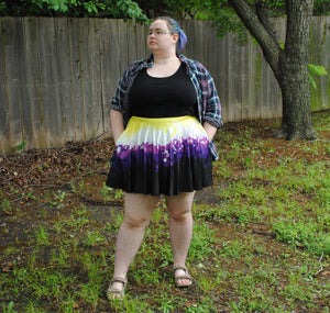 Pixel Pride Sunburst Skater Skirt with Pockets - Non-binary Pride