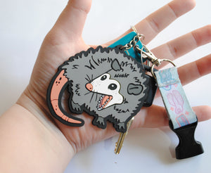 Screaming Opossum PVC Keychain
