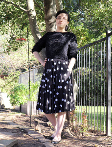 Polkat Dot Midi Skirt With Pockets
