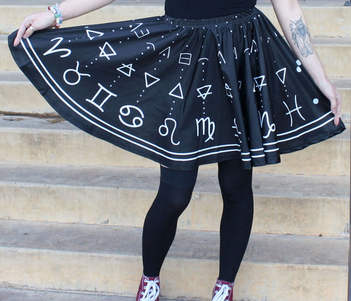 Astrology Skater Skirt with Pockets