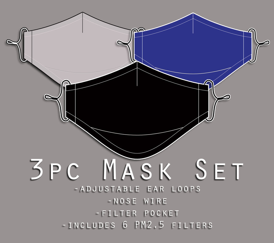 Professional Neutrals Mask Set: Black, Grey, and Blue
