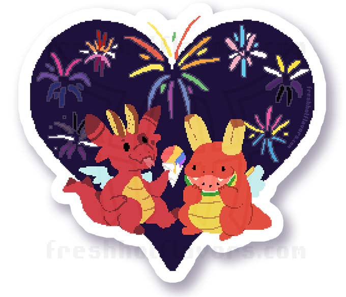 Fry Dragon Fireworks Sticker