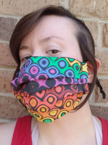 Effervescent Gay Pixel Pride Face Mask - Adjustable Sizing