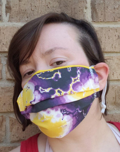 Sunburst Non-Binary Pixel Pride Face Mask - Adjustable Sizing