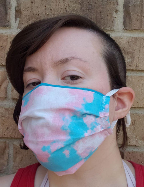 Bubblegum Trans Pixel Pride Face Mask - Adjustable Sizing