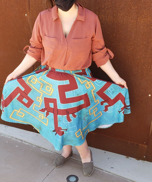 Ancient Dragons Midi Skirt with Pockets