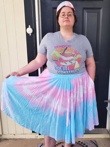 Pixel Pride Bubblegum Trans Midi Skirt With Pockets - Trans Pride Midi Skirt
