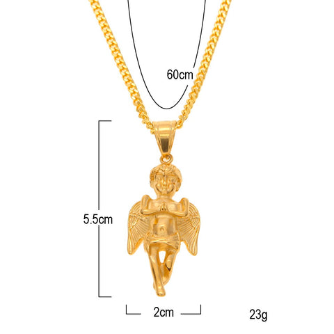 Gold long wing angel pendants necklaces goldpimps gold long wing angel pendants necklaces aloadofball Gallery
