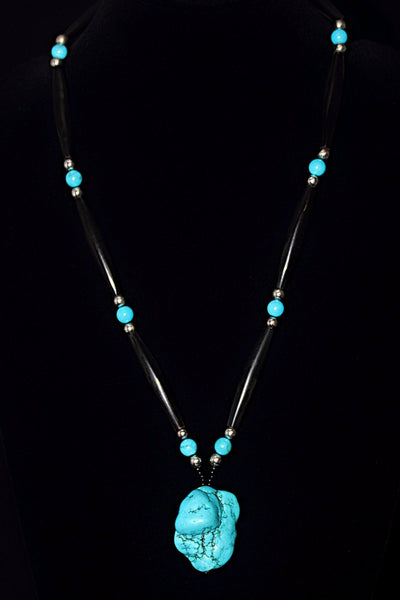Buffalo Horn And Turquoise Necklace