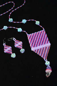 """Flowers and Stripes"" Pouch Necklace and Earring Set - nativenationarts"