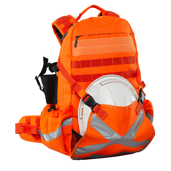 Caribee Mineral King 32L high visibility orange backpack with helmet holder