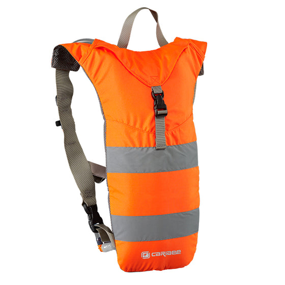high visibility hydration backpack in orange