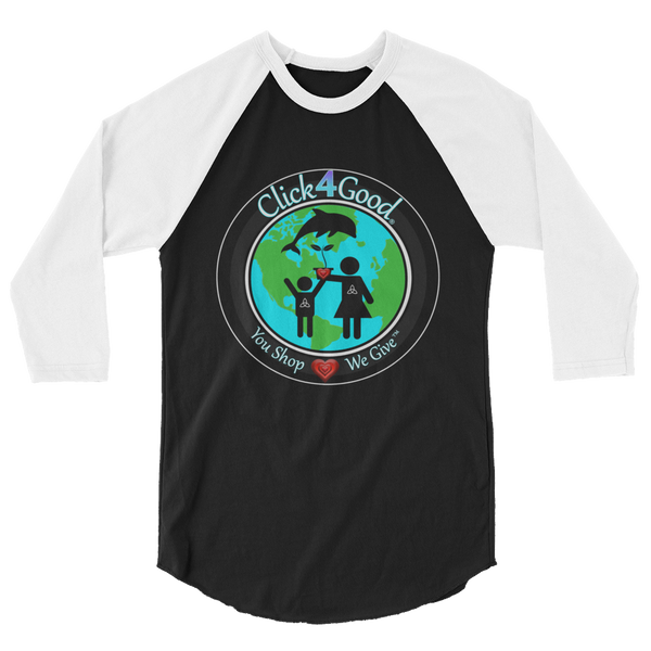 Click4Good Retro Unisex 3/4 sleeve raglan shirt