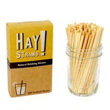 Load image into Gallery viewer, HAY! Straws are 100% compostable and biodegradable, natural drinking straws. This 100 pack of Tall straws is the best solution for entertaining a crowd or to enjoy your favorite drink at home.