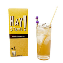 Load image into Gallery viewer, Seed to Sip. HAY! Straws are natural minimally processed drinking straws: 100%compostable and biodegradable, this 100 pack of Tall straws the perfect solution for entertaining a crowd or simply enjoying your favorite drink at home.
