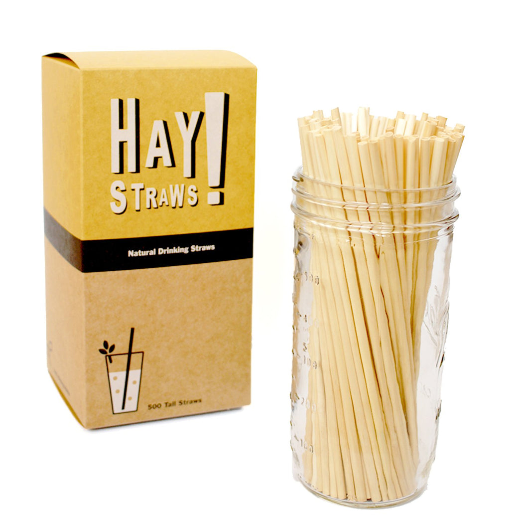 HAY! Straws are minimally processed, all natural, made from wheat-stems and Gluten-free. Our Original Hay straws are all 100% biodegradable and compostable at home, and never soggy: The perfect touch to your favorite drink or for entertaining a crowd.