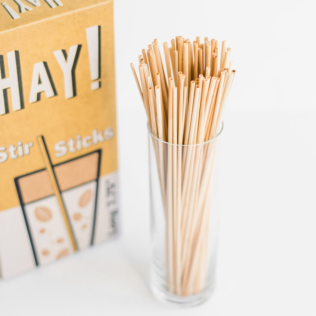 HAY STIR STICKS, HAY STIRRERS, COFFEE STIRRERS, HAY STRAWS, NATURAL STIR STICKS, BIODEGRADABLE STIR STICKS