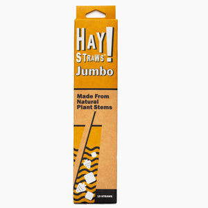 "HAY! Straws® smoothie straws with inner diameter of 5-7mm and 8"" length, are perfect for shakes and other thicker drinks without the paper taste and never get soggy. Our strong and sturdy Jumbo straws are 100% Biodegradable and are made from natural plant stems. Wholesale case contains 1500 hay disposable straws."