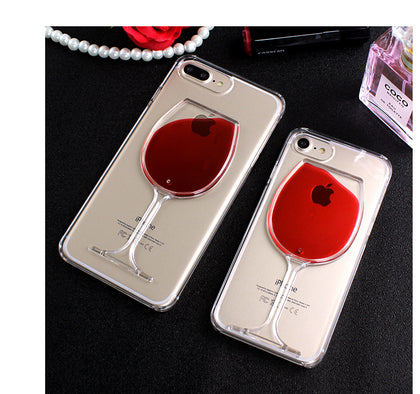 "Red Wine Cup Liquid Transparent iPhone ""Vinishko style"" Case For iphone 8 6 6s 7 Plus 5S SE Phone Cases Cover for iphone 7 6 6s Plus"