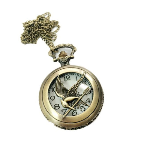Steampunk bird shape pocket quartz keyring watch keychain pendant