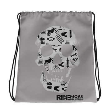 Dirt Bike Skull Drawstring bag