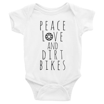 Peace, Love & Dirt Bikes Infant Bodysuit