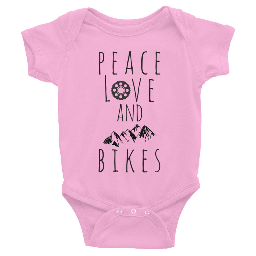 Peace, Love and MTN Bikes Infant Bodysuit