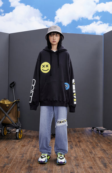 INXX Grafflex HaierBros Smiley Face Hoodie Light Dark Grey