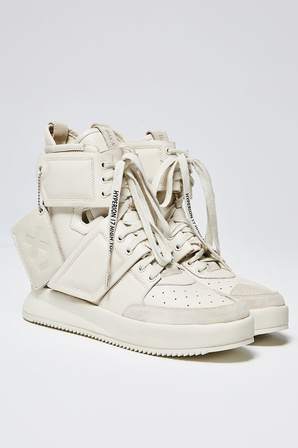 WHITE HYPERION HIGH-TOP CALF LEATHER SNEAKERS - INXX USA