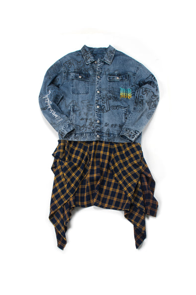 Oversized Denim Jacket with Tied Plaid Shirt - INXX USA