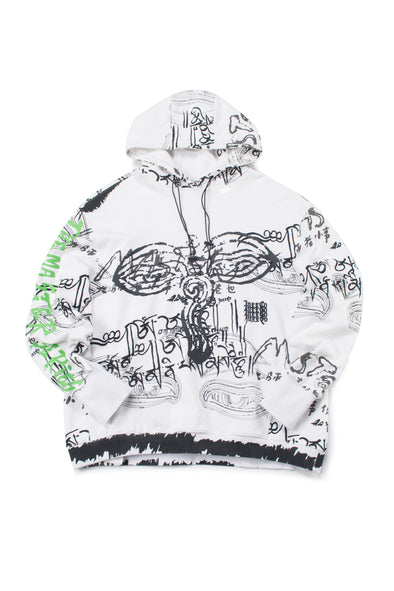 WHITE OVERSIZED GRAPHIC FRENCH TERRY HOODIE - INXX USA
