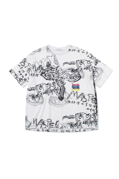 WHITE OVERSIZED GRAPHIC COTTON T-SHIRT - INXX USA