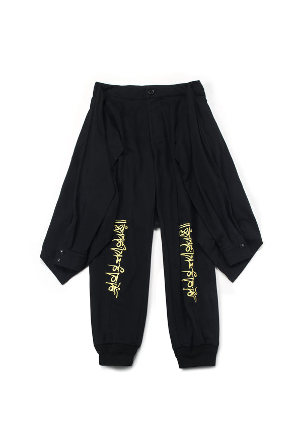 Black Cotton Joggers with Tied Long Sleeves - INXX USA