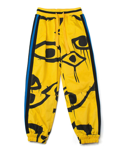 YELLOW GRAFFITI EMBROIDERED JOGGERS - INXX USA