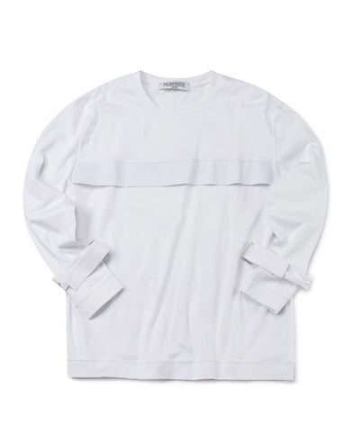 WHITE LONG SLEEVE JERSEY WITH CUFF STRAPS - INXX USA