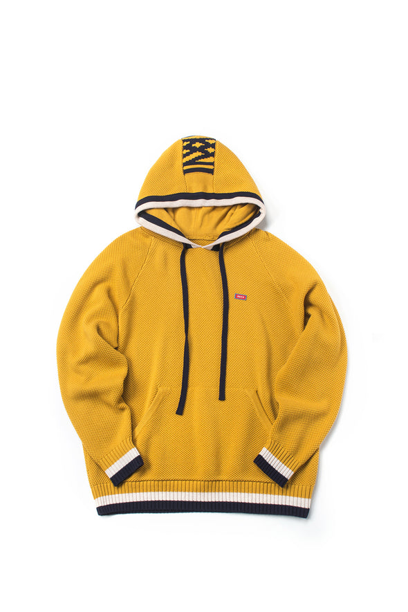 Striped Mustard Hooded Sweater With Logo Patch - INXX USA