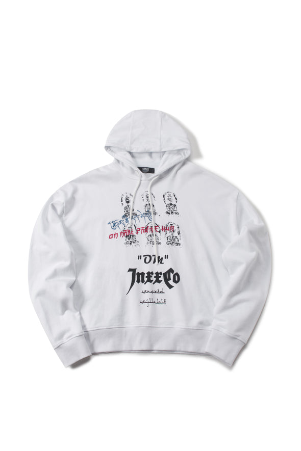WHITE OVERSIZED FRENCH TERRY HOODIE - INXX USA