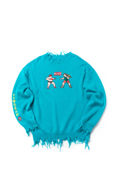 EMBROIDERED DISTRESSED BLUE OVERSIZED SWEATER - INXX USA