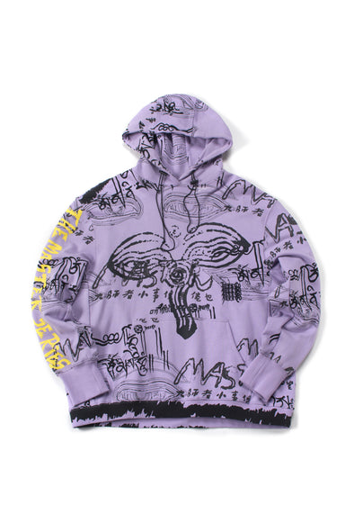 PURPLE OVERSIZED GRAPHIC FRENCH TERRY HOODIE - INXX USA