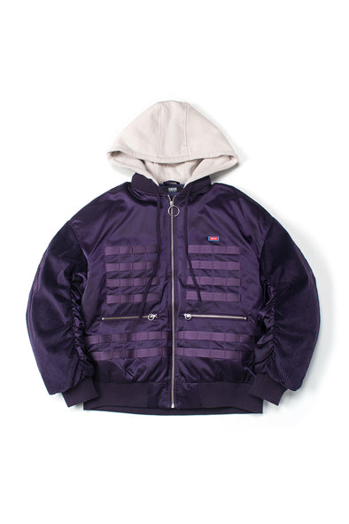 CORDUROY SLEEVES PURPLE BOMBER JACKET - INXX USA