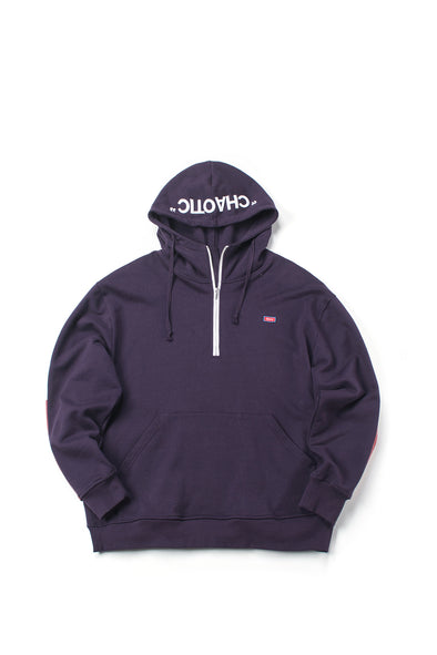 STRIPED PURPLE ZIP HOODIE WITH LOGO PATCH - INXX USA