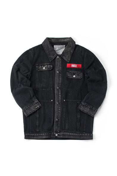 INXX LOGO WASHED BLACK OVERSIZED DENIM JACKET - INXX USA