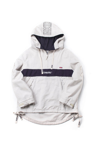 WHITE HALF ZIP HOODIE WITH INXX LOGO PATCH - INXX USA