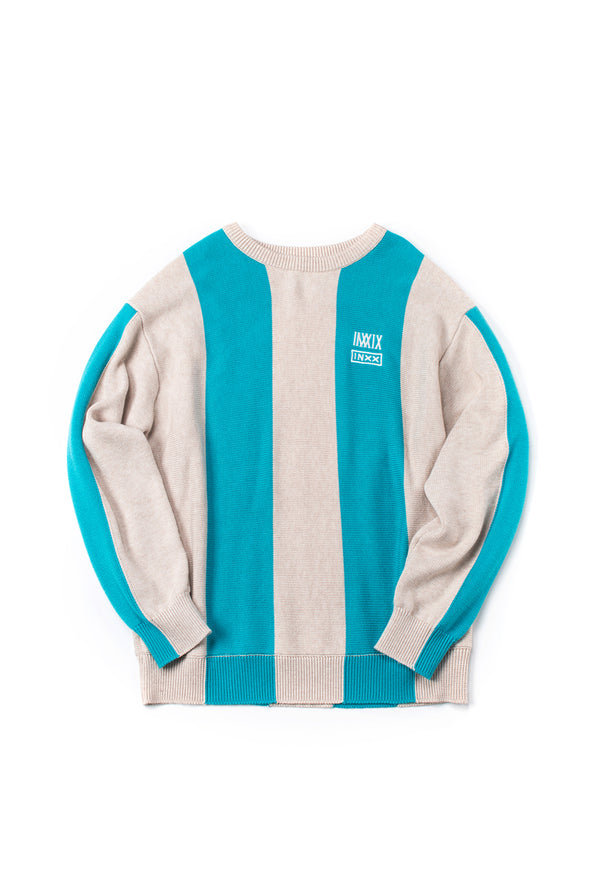 STRIPED BLUE AND IVORY OVERSIZED PULLOVER SWEATER - INXX USA