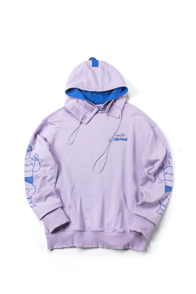 PRINTED GRAFFITI PURPLE EDGE DESTROYED HOODIE - INXX USA