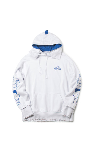 PRINTED GRAFFITI WHITE EDGE DESTROYED HOODIE - INXX USA