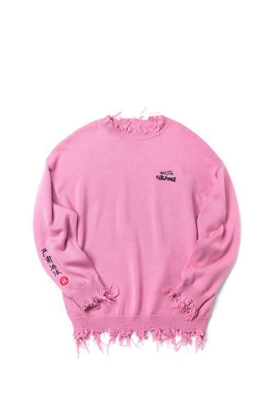 Embroidered Distressed Pink Oversized Sweater