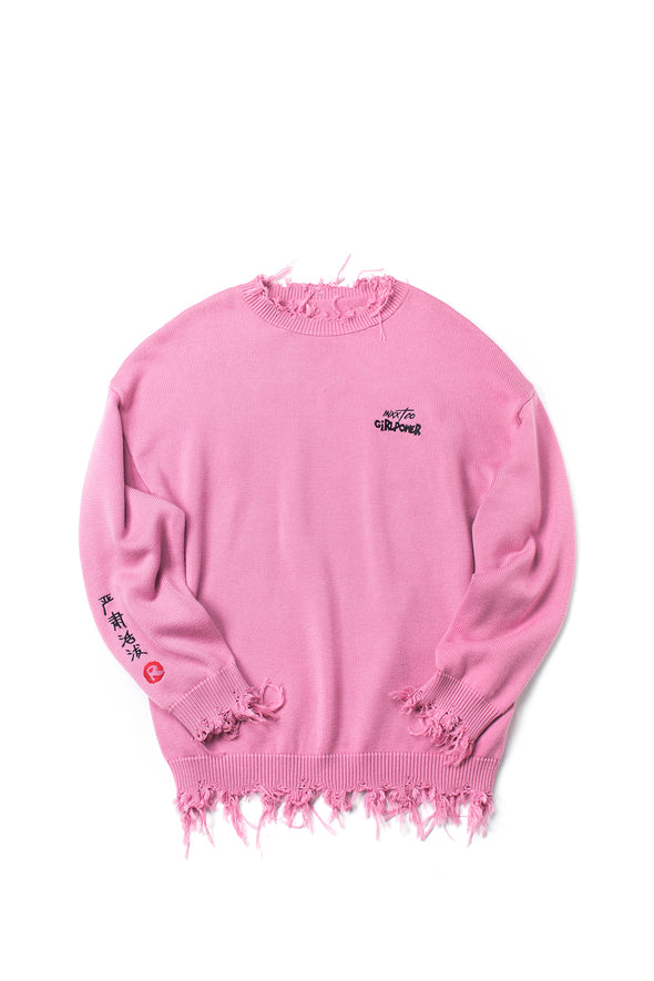Embroidered Distressed Pink Oversized Sweater - INXX USA