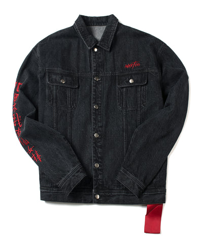 Black Denim Botton Down Jacket - INXX USA